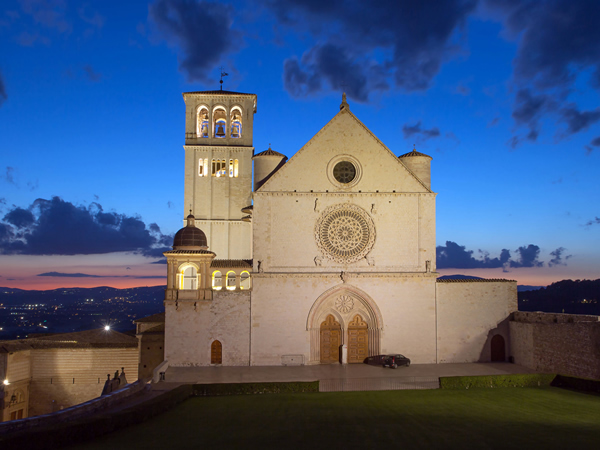 Sunset on the Basilica in Assisi